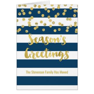 Cartão Endereço novo do feriado dos confetes do ouro das