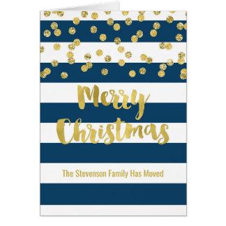 Cartão Endereço novo do Natal dos confetes do ouro das