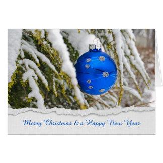 Cartão Enfeites de natal azuis na neve