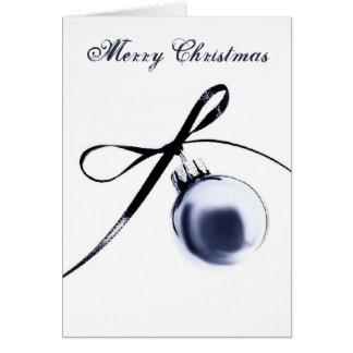 Cartão Enfeites de natal de Bluesteel com fita