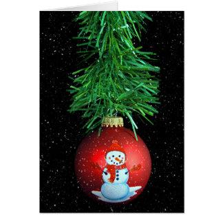 Cartão enfeites de natal do boneco de neve com flocos de
