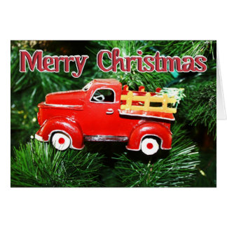 Cartão Enfeites de natal vermelhos 4 do caminhão