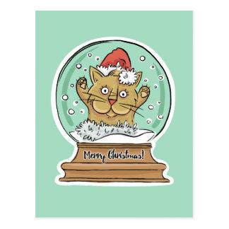 Cartão engraçado bonito do gato do Natal