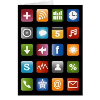 Cartão engraçado com ícones sociais do app dos