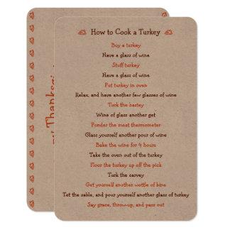 Cartão engraçado da acção de graças como à receita
