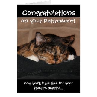 Cartão engraçado da aposentadoria, gato de chita