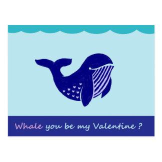 Cartão engraçado da baleia bonito do dia dos cartão postal