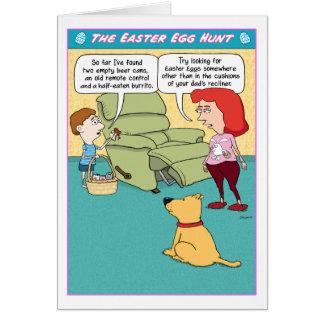 Cartão engraçado da caça do ovo da páscoa