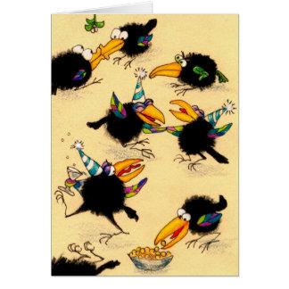 Cartão engraçado da festa de Natal do corvo