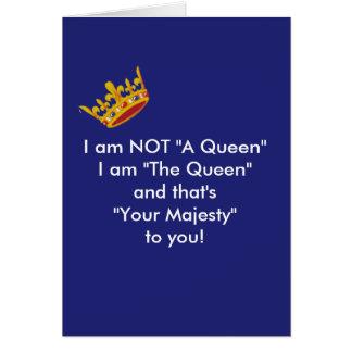 Cartão engraçado da rainha - marinho