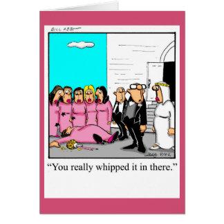 Cartão engraçado das felicitações do casamento