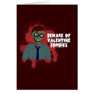 Cartão engraçado do amor do zombi