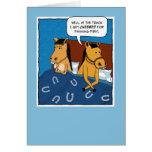 Cartão engraçado do aniversário: Cavalos na cama