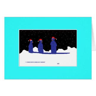 cartão engraçado do boneco de neve