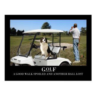 Cartão engraçado do cão de border collie, bola