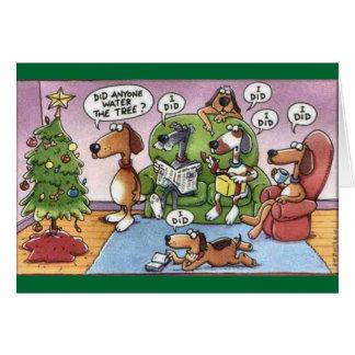 Cartão engraçado do cão do Natal