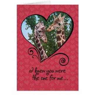 Cartão Cartão engraçado do dia dos namorados dos girafas