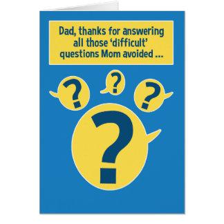 Cartão engraçado do dia dos pais: Perguntas