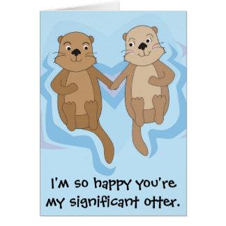 Cartão engraçado do feliz aniversario com as lontr