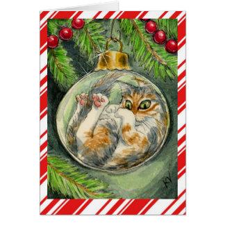 Cartão engraçado do gato do Natal