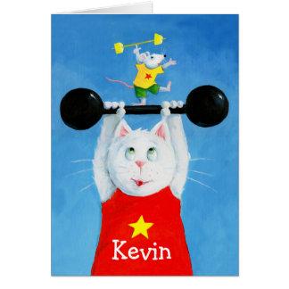 Cartão engraçado do gato & do rato do treinamento