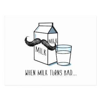 Cartão engraçado do leite & do Moustache Cartão Postal