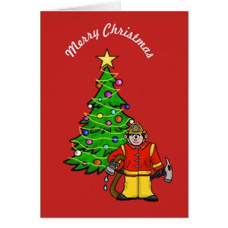 Cartão engraçado do Natal do bombeiro