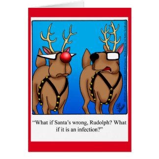Cartão engraçado do Natal do humor da rena