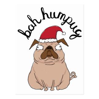 Cartão engraçado do Natal do Pug do papai noel de