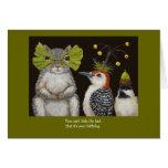cartão engraçado do pássaro/o animal de aniversári