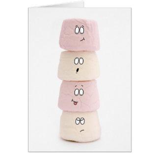 cartão engraçado do rosa e o branco do marshmallow