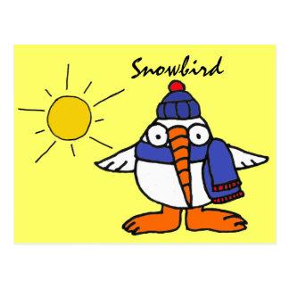 Cartão engraçado do Snowbird de BW Cartão Postal