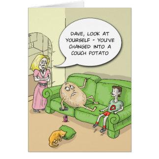 Cartão engraçado do viciado em televisão