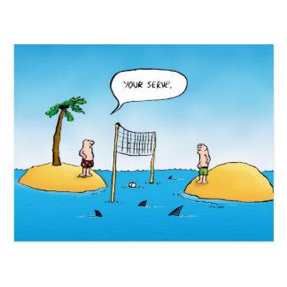 Cartão engraçado dos desenhos animados do voleibol