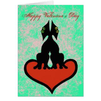 Cartão engraçado dos gatos do feliz dia dos namora