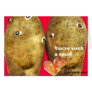 Cartão engraçado dos namorados das batatas do amor