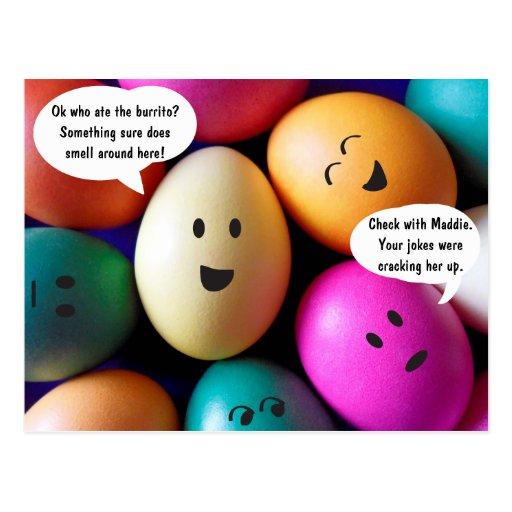 Cartão engraçado dos ovos da páscoa cartao postal