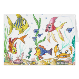 """Cartão engraçado dos peixes """"sob o mar """""""