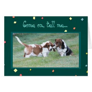"""Cartão Engraçado """"faltando o"""" carde cães de Basset de"""
