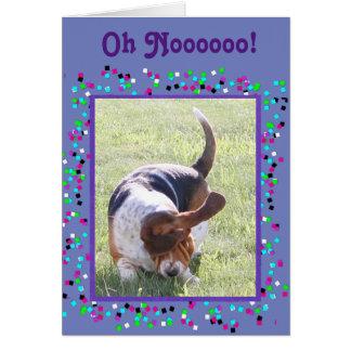 """Cartão Engraçado """"faltando o"""" carde w/Cute Basset Hound"""