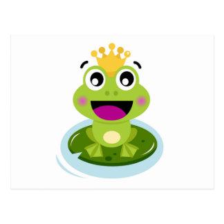 Cartão engraçado feliz do sapo verde da cara