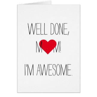 Cartão   engraçado impressionante do dia das mães