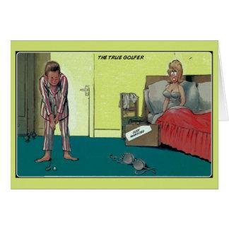 Cartão Engraçado o jogador de golfe real, recem casados