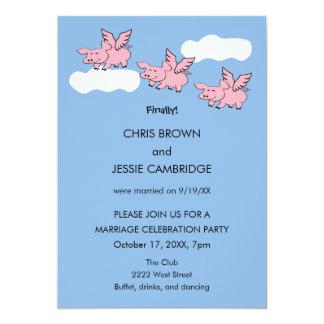 Cartão Engraçado quando os porcos voarem casado