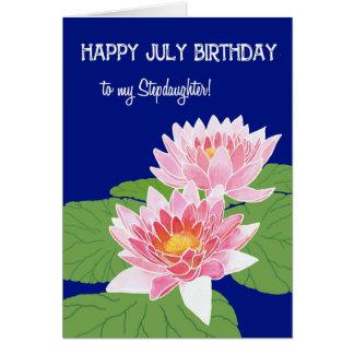 Cartão Enteada cor-de-rosa do aniversário de julho dos