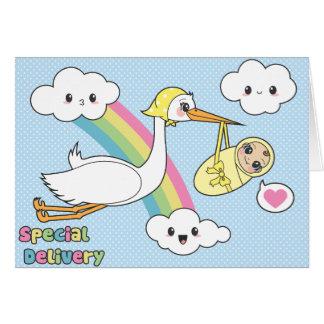 Cartão Entrega especial - cegonha & bebê