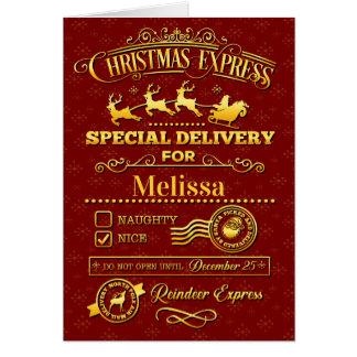 Cartão Entrega especial do Natal