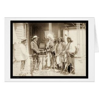 Cartão Entrevistando três indianos SD 1887 de Cheyenne