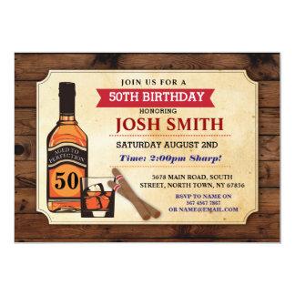Cartão Envelhecido aos charutos do uísque do aniversário