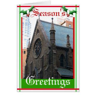 Cartão envelhecido da igreja do tijolo